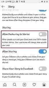نحوه فعال و غیرفعال کردن اشتراک گذاری پست در استوری اینستاگرام