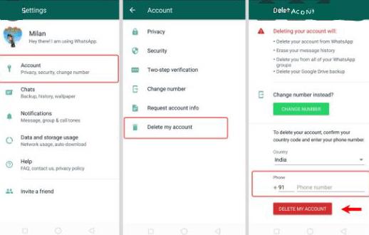 واتساپ: آموزش حذف اکانت واتس آپ در ios،kaios و اندروید(Delete Account)