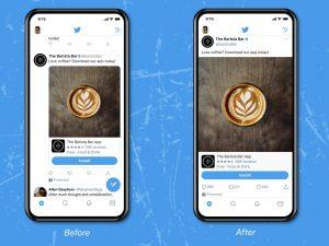 توییتر :آزمایش طراحی لبه به لبه تصاویر و ویدیوهای تایم لاین در توییتر